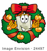 #24497 Clip Art Graphic Of A White Electrical Light Switch Cartoon Character In The Center Of A Christmas Wreath