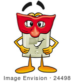 #24498 Clip Art Graphic Of A White Electrical Light Switch Cartoon Character Wearing A Red Mask Over His Face