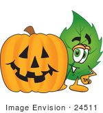 #24511 Clip Art Graphic Of A Green Tree Leaf Cartoon Character With A Carved Halloween Pumpkin