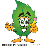 #24513 Clip Art Graphic Of A Green Tree Leaf Cartoon Character Holding A Pencil