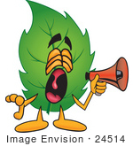 #24514 Clip Art Graphic Of A Green Tree Leaf Cartoon Character Screaming Into A Megaphone