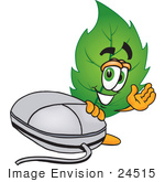 #24515 Clip Art Graphic Of A Green Tree Leaf Cartoon Character With A Computer Mouse