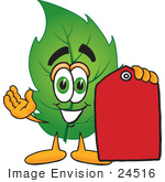 #24516 Clip Art Graphic Of A Green Tree Leaf Cartoon Character Holding A Red Sales Price Tag