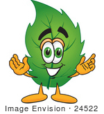 #24522 Clip Art Graphic Of A Green Tree Leaf Cartoon Character With Welcoming Open Arms