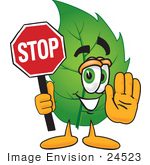 #24523 Clip Art Graphic Of A Green Tree Leaf Cartoon Character Holding A Stop Sign