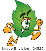 #24525 Clip Art Graphic Of A Green Tree Leaf Cartoon Character Running