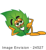 #24527 Clip Art Graphic Of A Green Tree Leaf Cartoon Character Resting His Head On His Hand