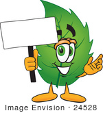 #24528 Clip Art Graphic Of A Green Tree Leaf Cartoon Character Holding A Blank Sign