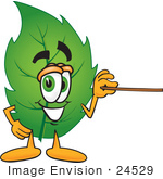 #24529 Clip Art Graphic Of A Green Tree Leaf Cartoon Character Holding A Pointer Stick