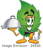 #24530 Clip Art Graphic Of A Green Tree Leaf Cartoon Character Dressed As A Waiter And Holding A Serving Platter