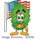 #24532 Clip Art Graphic Of A Green Tree Leaf Cartoon Character Pledging Allegiance To An American Flag