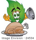 #24534 Clip Art Graphic Of A Green Tree Leaf Cartoon Character Serving A Thanksgiving Turkey On A Platter