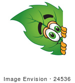#24536 Clip Art Graphic Of A Green Tree Leaf Cartoon Character Peeking Around A Corner