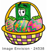 #24538 Clip Art Graphic Of A Flat Green Dollar Bill Cartoon Character In An Easter Basket Full Of Decorated Easter Eggs
