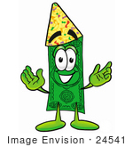 #24541 Clip Art Graphic Of A Flat Green Dollar Bill Cartoon Character Wearing A Birthday Party Hat