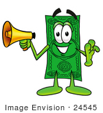 #24545 Clip Art Graphic Of A Flat Green Dollar Bill Cartoon Character Holding A Megaphone