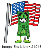 #24546 Clip Art Graphic Of A Flat Green Dollar Bill Cartoon Character Pledging Allegiance To An American Flag