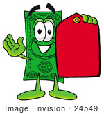 #24549 Clip Art Graphic Of A Flat Green Dollar Bill Cartoon Character Holding A Red Sales Price Tag