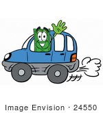 #24550 Clip Art Graphic Of A Flat Green Dollar Bill Cartoon Character Driving A Blue Car And Waving