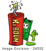 #24552 Clip Art Graphic Of A Flat Green Dollar Bill Cartoon Character Standing With A Lit Stick Of Dynamite