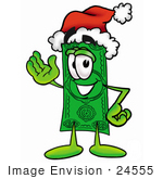 #24555 Clip Art Graphic Of A Flat Green Dollar Bill Cartoon Character Wearing A Santa Hat And Waving