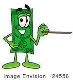 #24556 Clip Art Graphic Of A Flat Green Dollar Bill Cartoon Character Holding A Pointer Stick