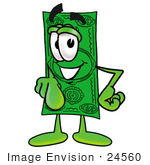 #24560 Clip Art Graphic Of A Flat Green Dollar Bill Cartoon Character Pointing At The Viewer