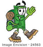 #24563 Clip Art Graphic Of A Flat Green Dollar Bill Cartoon Character Hiking And Carrying A Backpack