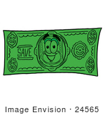 #24565 Clip Art Graphic of a Flat Green Dollar Bill Cartoon Character on a Dollar Bill by toons4biz