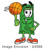 #24566 Clip Art Graphic Of A Flat Green Dollar Bill Cartoon Character Spinning A Basketball On His Finger