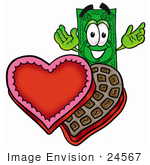 #24567 Clip Art Graphic Of A Flat Green Dollar Bill Cartoon Character With An Open Box Of Valentines Day Chocolate Candies