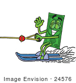 #24576 Clip Art Graphic Of A Flat Green Dollar Bill Cartoon Character Waving While Water Skiing