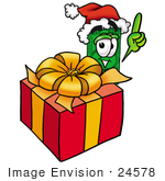 #24578 Clip Art Graphic Of A Flat Green Dollar Bill Cartoon Character Standing By A Christmas Present