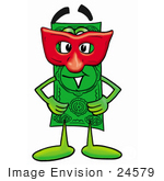 #24579 Clip Art Graphic Of A Flat Green Dollar Bill Cartoon Character Wearing A Red Mask Over His Face