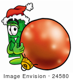 #24580 Clip Art Graphic Of A Flat Green Dollar Bill Cartoon Character Wearing A Santa Hat Standing With A Christmas Bauble