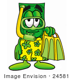 #24581 Clip Art Graphic of a Flat Green Dollar Bill Cartoon Character in Green and Yellow Snorkel Gear by toons4biz