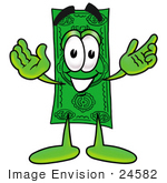 #24582 Clip Art Graphic Of A Flat Green Dollar Bill Cartoon Character With Welcoming Open Arms