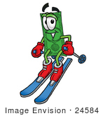 #24584 Clip Art Graphic Of A Flat Green Dollar Bill Cartoon Character Skiing Downhill