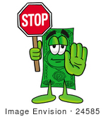 #24585 Clip Art Graphic Of A Flat Green Dollar Bill Cartoon Character Holding A Stop Sign