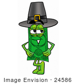 #24586 Clip Art Graphic Of A Flat Green Dollar Bill Cartoon Character Wearing A Pilgrim Hat On Thanksgiving