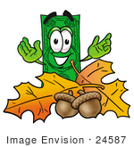 #24587 Clip Art Graphic Of A Flat Green Dollar Bill Cartoon Character With Autumn Leaves And Acorns In The Fall