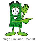 #24588 Clip Art Graphic Of A Flat Green Dollar Bill Cartoon Character Waving And Pointing