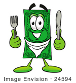 #24594 Clip Art Graphic Of A Flat Green Dollar Bill Cartoon Character Holding A Knife And Fork