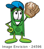 #24596 Clip Art Graphic Of A Flat Green Dollar Bill Cartoon Character Catching A Baseball With A Glove