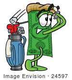 #24597 Clip Art Graphic Of A Flat Green Dollar Bill Cartoon Character Swinging His Golf Club While Golfing