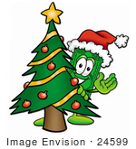 #24599 Clip Art Graphic Of A Flat Green Dollar Bill Cartoon Character Waving And Standing By A Decorated Christmas Tree