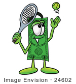 #24602 Clip Art Graphic Of A Flat Green Dollar Bill Cartoon Character Preparing To Hit A Tennis Ball