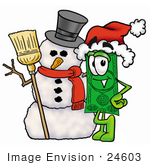 #24603 Clip Art Graphic Of A Flat Green Dollar Bill Cartoon Character With A Snowman On Christmas
