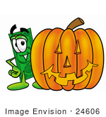 #24606 Clip Art Graphic Of A Flat Green Dollar Bill Cartoon Character With A Carved Halloween Pumpkin