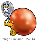 #24614 Clip Art Graphic Of A Blue Handled Magnifying Glass Cartoon Character Standing With A Christmas Bauble